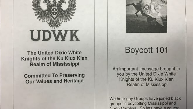 A portion of a KKK flier that was distributed Sunday to homes on the Coast.