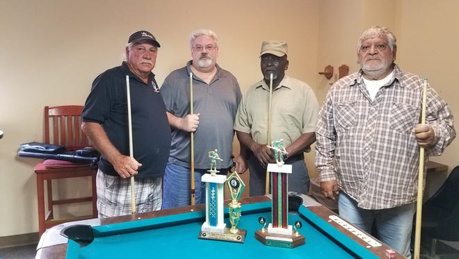 """The August Friendship Pool winders are pictured from left to right: First place is Larry """"Smitty"""" Smith and Doug Beard, of the Eagles with Randy Jackson and Joe Lujan, of the VFW, finishing in second place."""