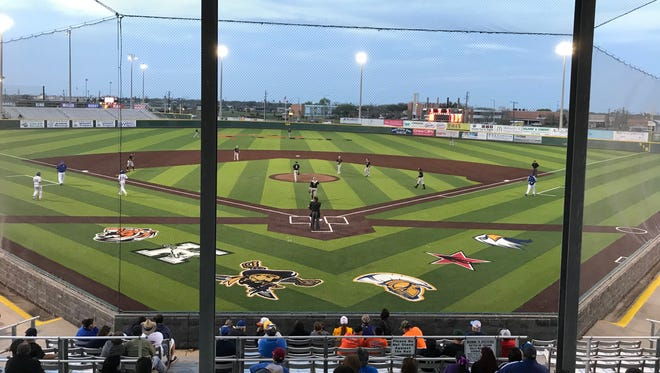 Moody and Kingsville play at Cabaniss Baseball Field after the official ribbon cutting ceremony. The field has new turf this season that is an all-weather surface.