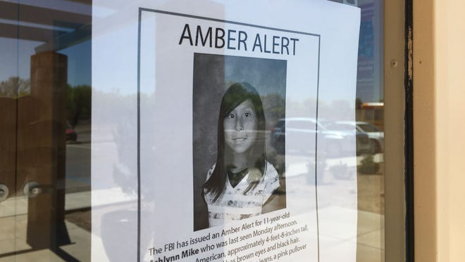 An Amber Alert poster for Ashlynne Mike is posted, May 3, 2016 at the entrance for the San Juan Chapter house in Lower Fruitland.