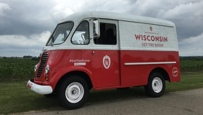 "The University of Wisconsin-Madison's alumni association refurbished a 1957 International Harvester Metro Van, used decades ago as a delivery truck, for its ""GetTheScoop"" campaign. Photo by Tod Pritchard of Wisconsin Foundation and Alumni Association."