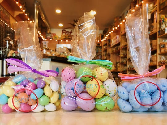 Bags of Easter Candy at Samuel's Sweet Shop in Rhinebeck