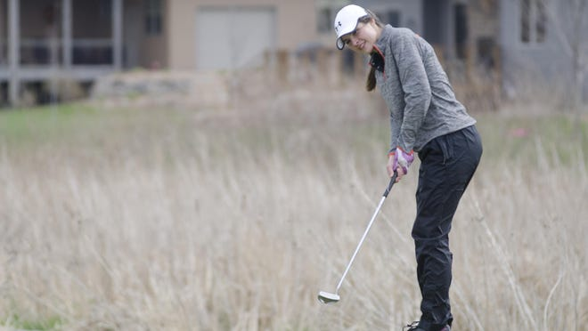 Kaitlyn Greenhoff of Dell Rapids putts on Hole No. 8 Tuesday, April 18, during a triangular at Rocky Run Golf Course in Dell Rapids. Greenhoff finished as runner-up at a meet Thursday, May 11, at Madison.