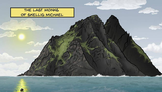 "Artwork from ""The Last Monks of Skellig Michael,"" a new comic book by  Philip Kosloski and Michael LaVoy."