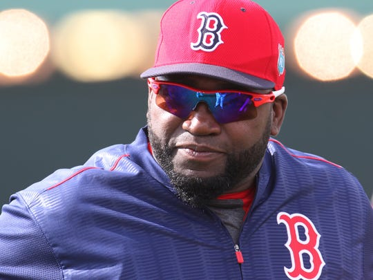 David Ortiz, of the Boston Red Sox, attends practice during the first full squad practice at JetBlue Park on Wednesday.