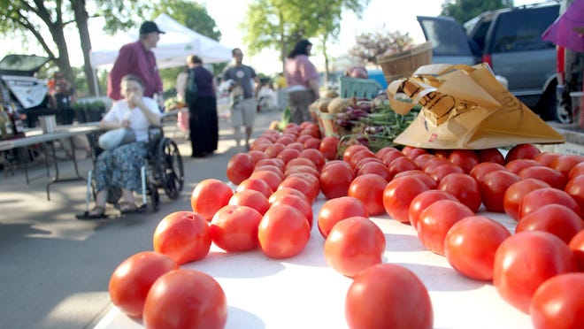 Fresh tomatoes bask in the sun during the Coralville Farmers Market.