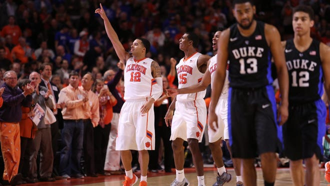 Jan 13, 2016; Greenville, SC, USA; Clemson Tigers guard Avry Holmes (12)celebrates at the end of the buzzer against the Duke Blue Devils in the second half at Bon Secours Wellness Arena. The Tigers won 68-63. Mandatory Credit: Dawson Powers-USA TODAY Sports
