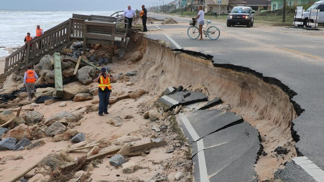 Damage caused by Hurricane Matthew to State Road A1A in Flagler Beach October 10, 2016. News-Journal/JIM TILLER