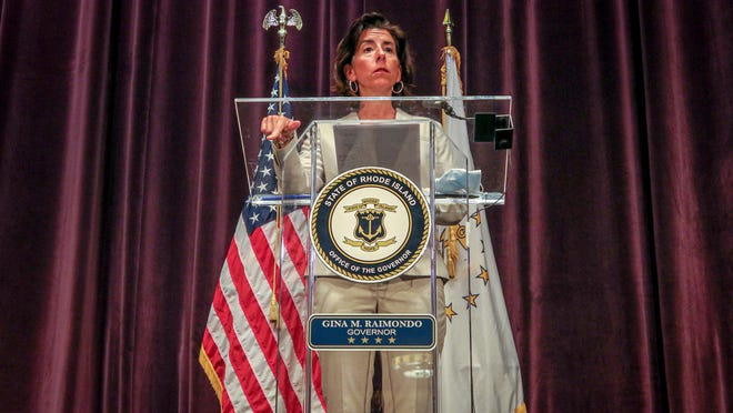 Gov. Gina Raimondo at a recent coronnavirus news conference.