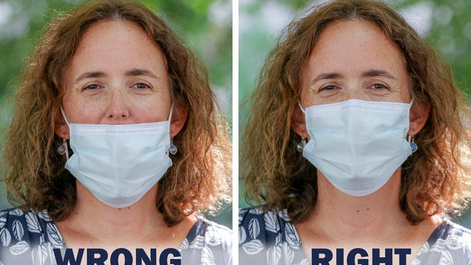 Lifespan Director of Infection Control Kerry Blanchard demonstrates the wrong way to wear a mask, left, and the right way, covering the mouth and nose, right.