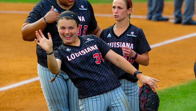 UL junior second baseman Haley Hayden shows the fun side of her dynamic personality prior to a game at Lamson Park earlier this season.