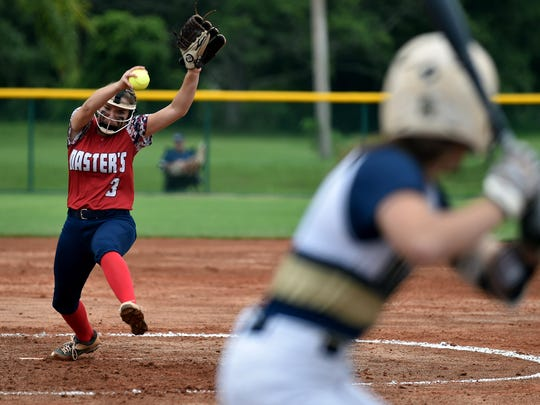 Master's Academy pitcher Chloe Fowler pitches to Asyria