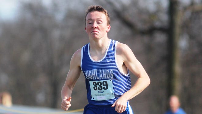 Highlands senior Ethan Shuley sets the pace early in 2A on his way to the state title. KHSAA state cross country meet. Nov. 7, 2015. Kentucky Horse Park. Lexington KY
