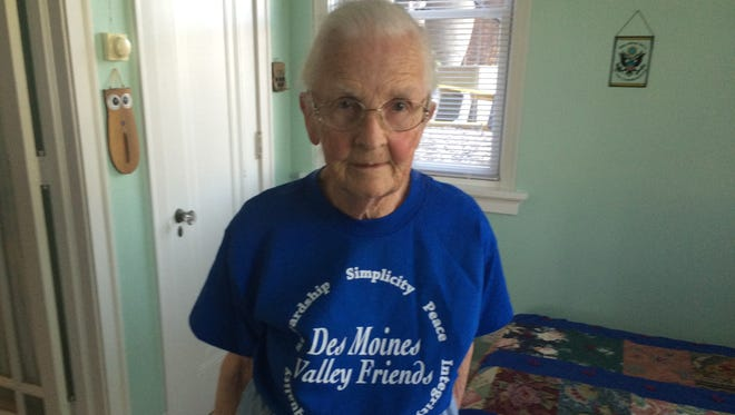 97-year old Sherry Hutchison sports a t-shirt outlining the Quaker values