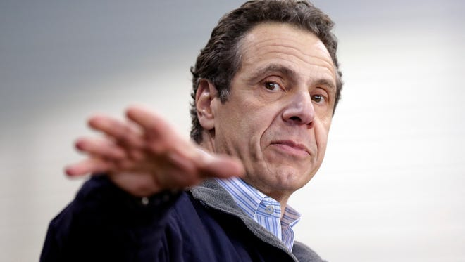 New York Gov. Andrew Cuomo speaks at an event back in April. Cuomo has raised $100 million for his three campaigns for governor, the USA Today Network's Albany Bureau found.