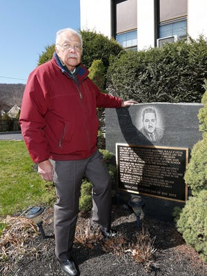Travis Jackson at the Thurgood Marshall memorial at the Hillburn School on Tuesday. Jackson was a student in Hillburn's Brook School when Marshall fought to desegregate the two small elementary schools.