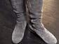 Mary Ellen Naugle wears brown boots with leggings.