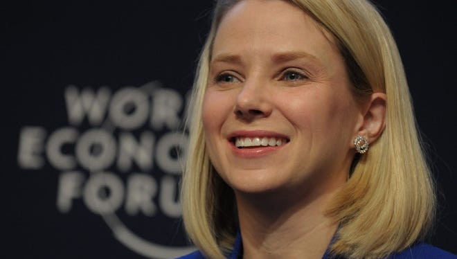"""This January 22, 2014 file photo shows Yahoo CEO Marissa Mayer as she takes part in the session """"the new digital context"""" on the opening day of the World Economic Forum in Davos."""