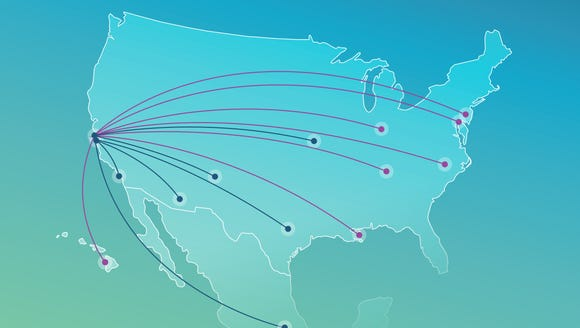 This image provided by Alaska Airlines shows new routes