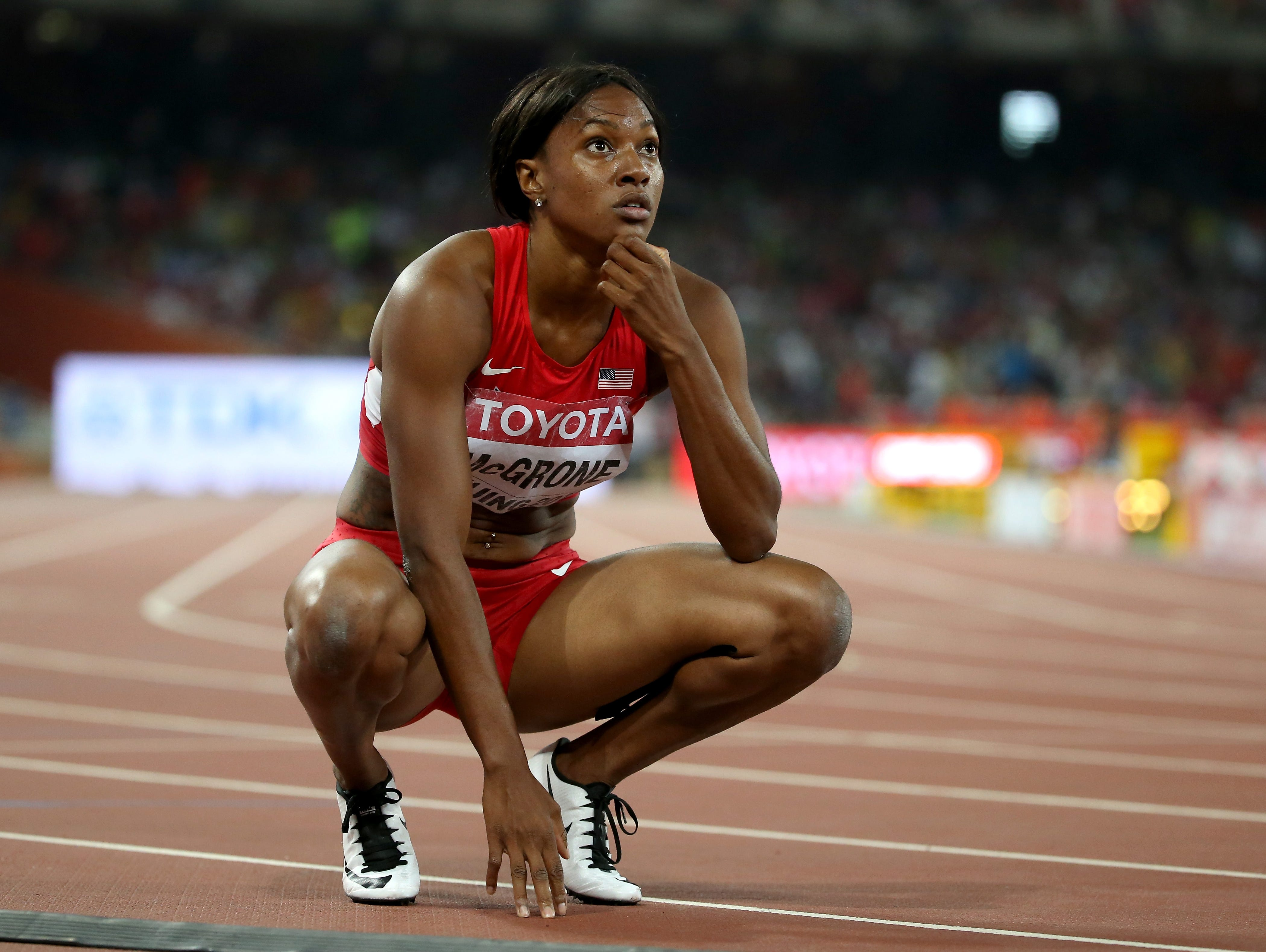 Candyce McGrone of the United States reacts after the Women's 200 metres Final during day seven of the 15th IAAF World Athletics Championships Beijing 2015 at Beijing National Stadium on August 28, 2015 in Beijing, China.