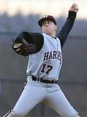 Andrew Gurgitano on the mound for the Harrison Huskies.