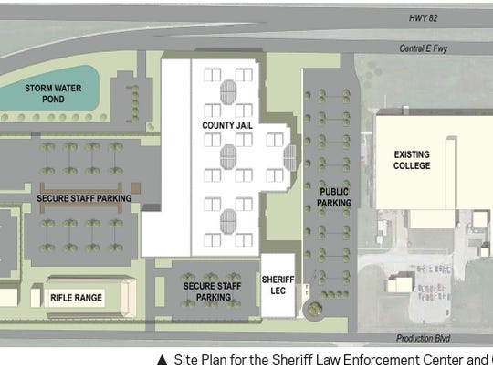 An HOK site plan shows and overhead view of the Vernon College south location and the proposed jail project. If the bond is approved the current Sprague Annex building would remain and may be re-purposed.