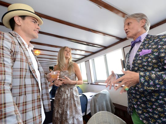 """Tom Sandoval and Ariana Madix from Bravo TVs """"Vanderpump Rules"""" chat with Monte Durham, right, from TLC's """"Say Yes to the Dress: Atlanta"""" on board the Belle of Louisville during the KDF Great Steamboat Race Wednesday evening. Tom Sandoval and Ariana Madix from Bravo TV's """"Vanderpump Rules"""" chat with Monte Durham from TLC's """"Say Yes to the Dress"""" on board the Belle of Louisville during the KDF Great Steamboat Race Wednesday evening. May 4th, 2016."""