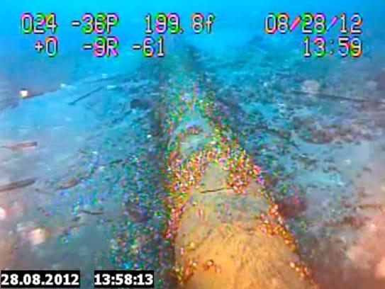 Still image from an Enbridge underwater inspection