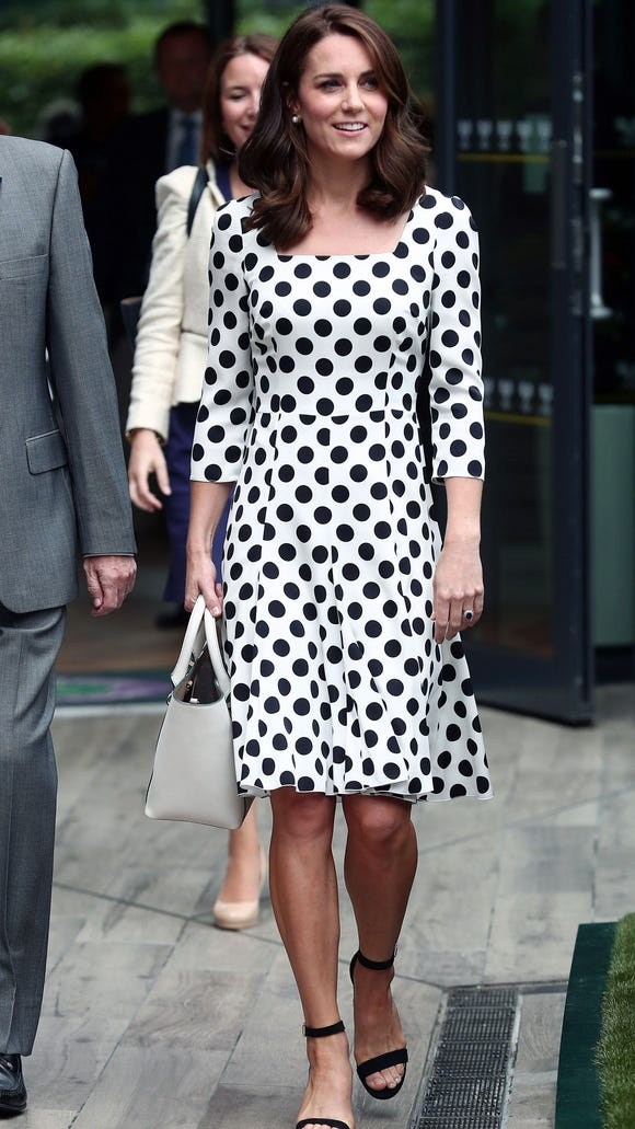 7b42dfbad46a Duchess Kate looks youthful in polka dot dress, shorter hair at ...