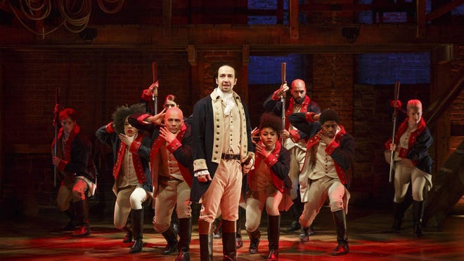 "Lin-Manuel Miranda, center, is the creator, composer and original  title character in the hit musical ""Hamilton,"" shown here in the ""Yorktown"" scene in the original Broadway production. Video of that production has been released as a Disney movie."