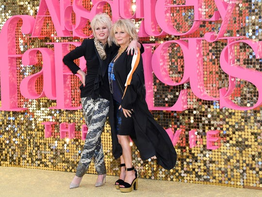 "Joanna Lumley (left) and Jennifer Saunders attend the ""Absolutely Fabulous: The Movie"" premiere in London on June 29, 2016."
