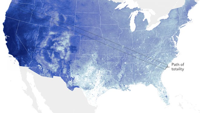 Predicted cloud coverage on August 21