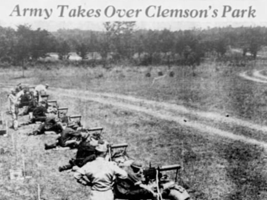 In this image from the June 22, 1941, Greenville News, members of Clemson College's ROTC unit practice shooting at a machine gun range near Isaqueena Lake. After the war started, the college handed over the lake and more than 100 acres of surrounding land to the U.S. Army Air Force for use as a bombing range.