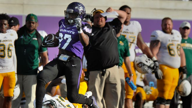Abilene Christian University running back Aaron Bunting breaks out for a long run in the fourth quarter of the ACU's game against Southeastern Louisiana University Saturday Oct. 21, 2017. Bunting's run set ACU up for a touchdown but the Lions still beat the Wildcats, 56-21.