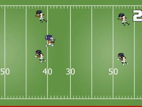 """Defenders who look a lot like Seattle defenders are in the QB's way in """"Smashman."""""""