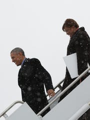 President Obama and Brenda Lawrence at Detroit Metropolitan Airport in Romulus.