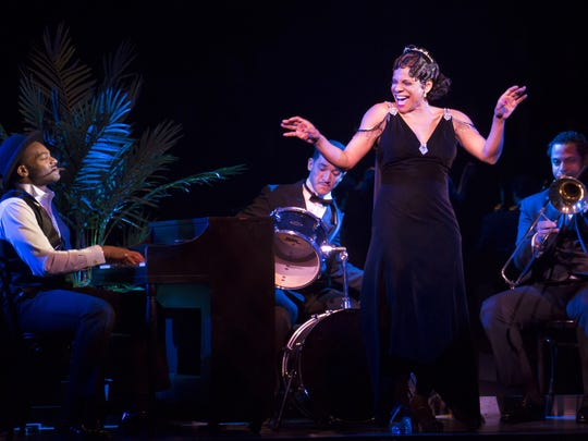 Brandon Victor Dixon and Audra McDonald perform in