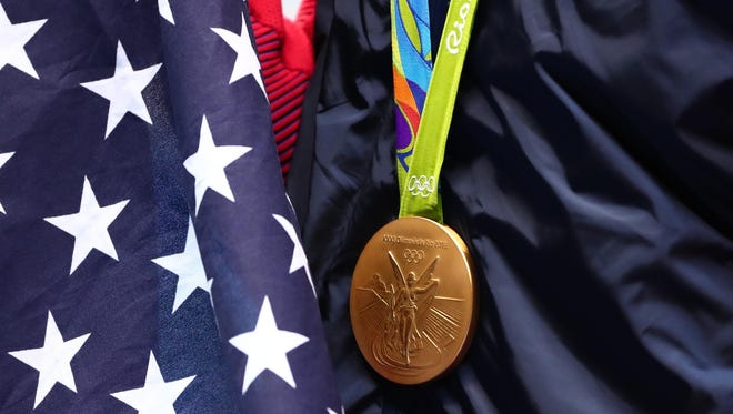 General view of a gold medal at the Rio 2016 Olympics.