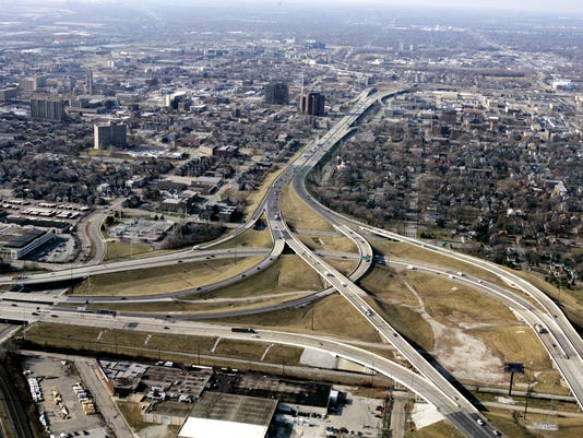 IndyStar stock indianapolis stock downtown stock i-65 stock interstate stock infrastructure stock aerial