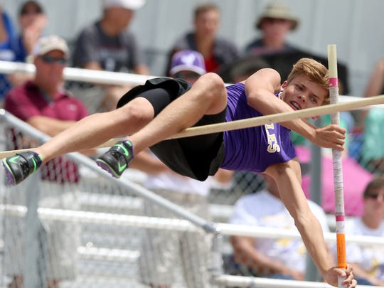 Sterling City's Kaden Johnson competes in the pole vault at the UIL Region II-1A Championship Track and Field Meet at Angelo State in 2017. As of March 7, 2018, Johnson had already matched his personal record.