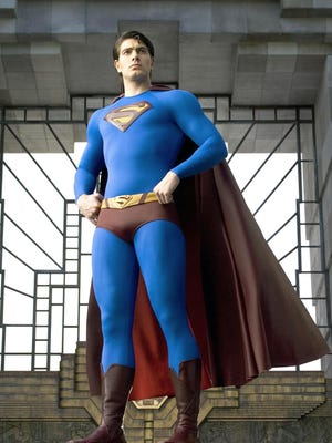 """-Image  Warner Bros. Pictures, shows 25 year-old American actor Brandon Routh in costume for his title role in """"Superman Returns."""""""