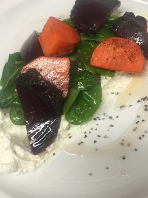 Roasted beets and carrots with local honey and blue cheese