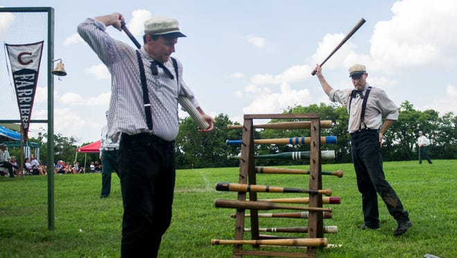 Members of the Franklin Farriers warm up during their game against the Travellers of Brentwood earlier this year. A tournament of vintage base ball teams is set for Sept. 9-10, 2017.