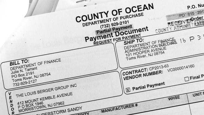 Copies of invoices from The Louis Berger Group to Ocean County, for a $1 million study to explore rebuilding or refurbishing every county government office and facility in Ocean County.