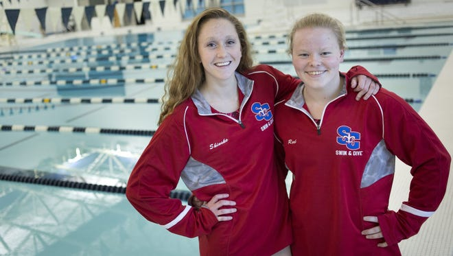 Grace Shinske (left) and Red Smith will each be swimming in four events at Saturday's Division 3 swimming state finals.