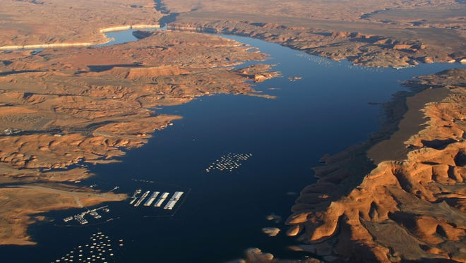 This aerial view of Lake Powell in the Glen Canyon National Recreation Area was taken in 2008. This aerial view of Lake Powell in the Glen Canyon National Recreation Area was taken in 2008.