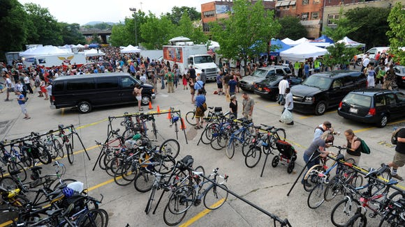 The bike corral at Downtown After 5 in Asheville. The Blue Ridge Bicycle Club will hold a similar event in Hendersonville.