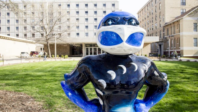 """""""Out of this World Herky"""" is displayed in downtown Iowa City as part of Herky on Parade on Monday, May 5, 2014."""