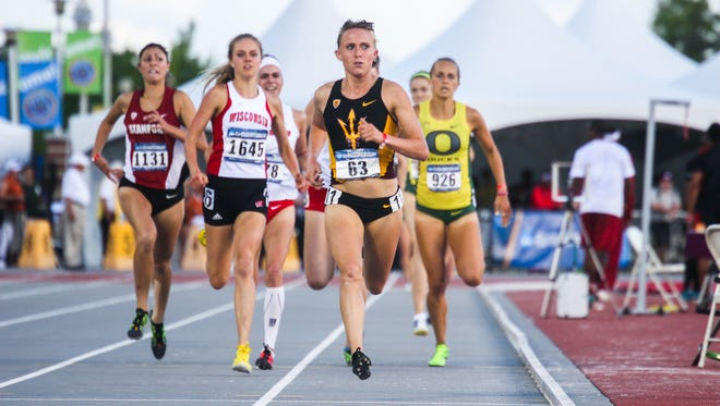 Arizona State's Shelby Houlihan (63), shown competing in a 1,500 meters heat during the preliminary round of the NCAA Championships on May 31 in Fayetteville, Ark., has sights on winning the event in Saturday's final.
