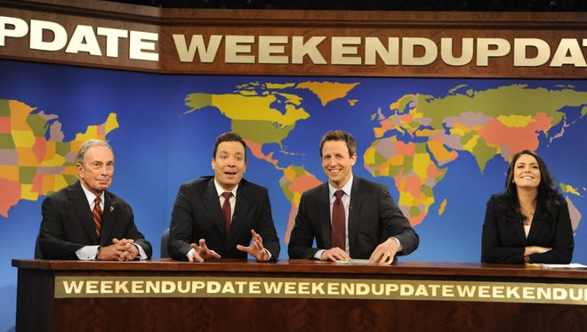 Michael Bloomberg, Jimmy Fallon, Seth Meyers and Cecily Strong appear on Weekend Update on 'SNL.'